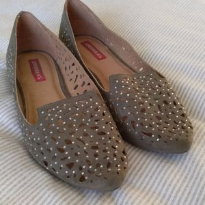 Sage green flats with small crystals